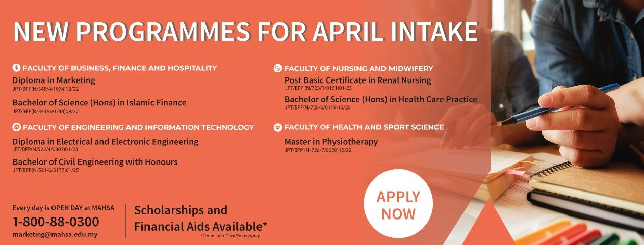 NEW PROGRAMMES FOR APRIL INTAKE